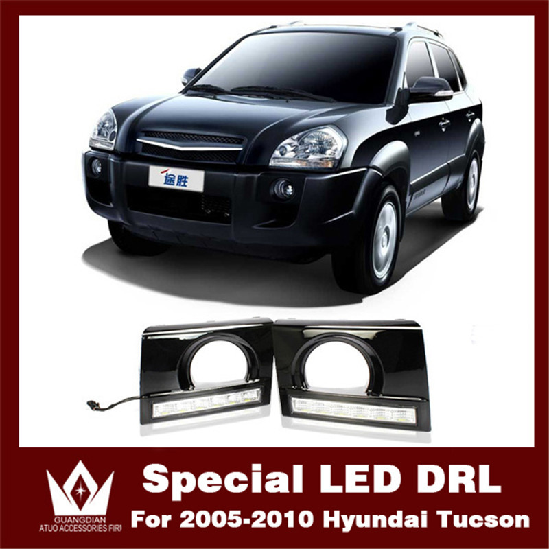 Night lord For 2009-2014 DRL for Hyundai Tucson Daytime running light  Aluminum rear cover for Tucson DRL Free shipping 4pcs set smoke sun rain visor vent window deflector shield guard shade for hyundai tucson 2016