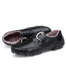Men Plush Loafers Men Casual fur shoes Octopus style Metal decoration Leather shoes Lightweight Soft Rubber Outsole Sewing Line g n shi jia black genuine leather upper rubber outsole men s leisure shoes sewing soft outdoor retro male casual shoes 888330