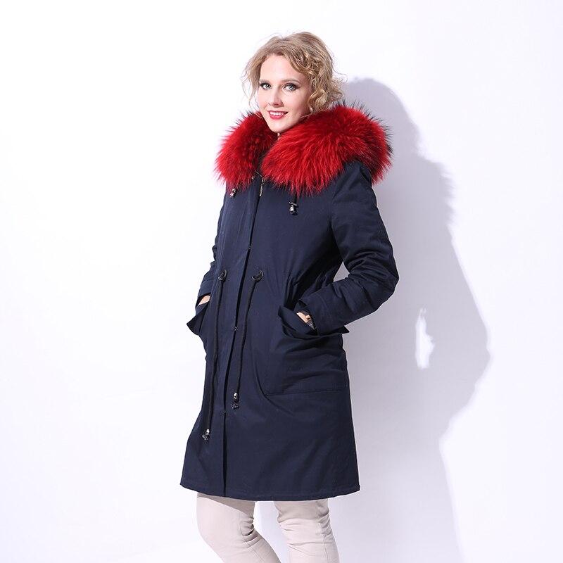 winter Genuine Leather Parke Lamb Sheepskin Liner real fur coat Detachable Raccoon Dog Fur Collar Factory direct supply 2017 new