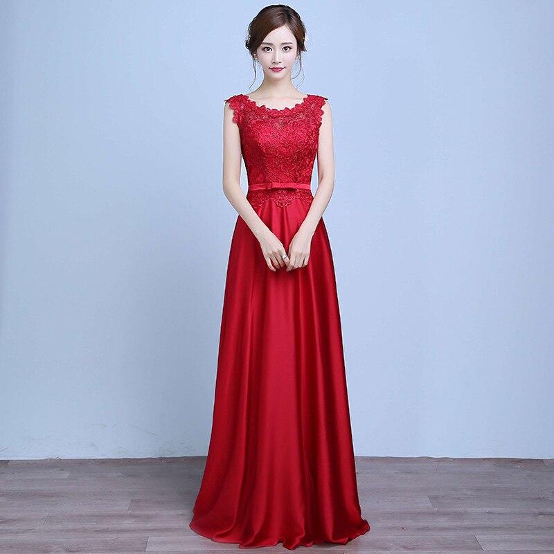 Holievery encolure dégagée dentelle Satin longues robes de soirée avec noeud 2019 bleu Royal rouge longueur de plancher formelle Robe de soirée Robe de soirée