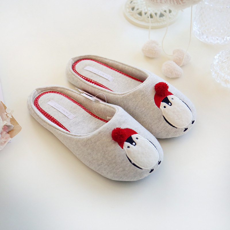 Cotton Cute Penguin Animal Pattern Home Slippers Women Indoor Shoes For Bedroom House Adult Guest Warm