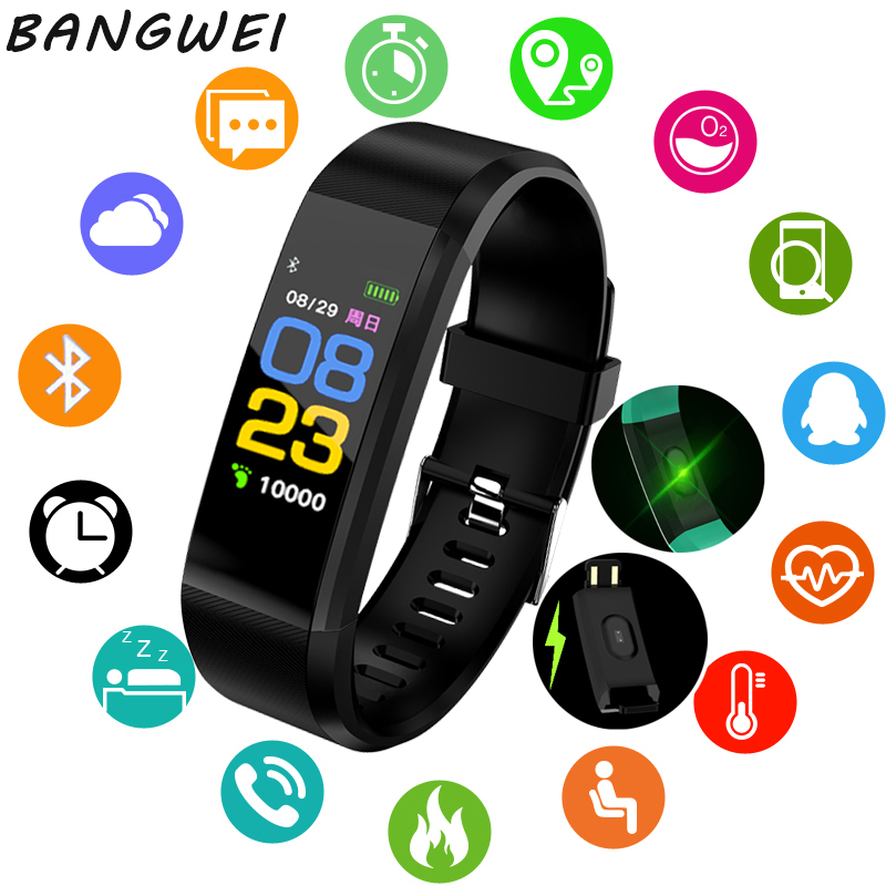 BANGWEI 2018 New Smart Digital Watch ECG Real-time Dynamic Fitness Wristband Support USB-charge OLED color screen Smart bracelet цена