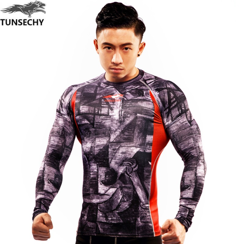 Hot shot 2017 new what  coat fun fashion TUNSECHY brand t-shirts high compression lycra elastic T - shirts