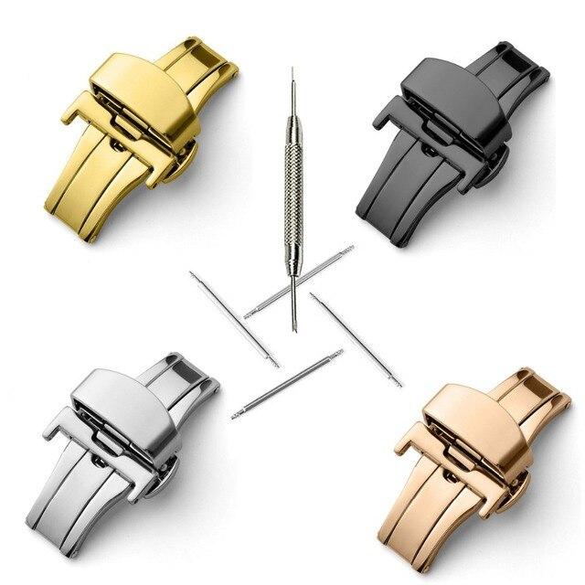 T02 316L полуавтоматический двойной клик Бабочка Пряжка часы кнопка складной застежка Серебряный ремешок для часов 12-24 мм