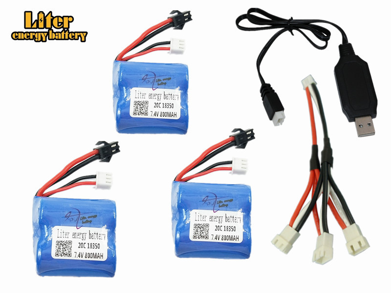 Li-ion <font><b>7.4v</b></font> <font><b>800mAh</b></font> 18350 Li-ion <font><b>battery</b></font> for H100 H102 7.4 v 800 mah high speed RC boat 3pcs/lot with 3in1 charger image