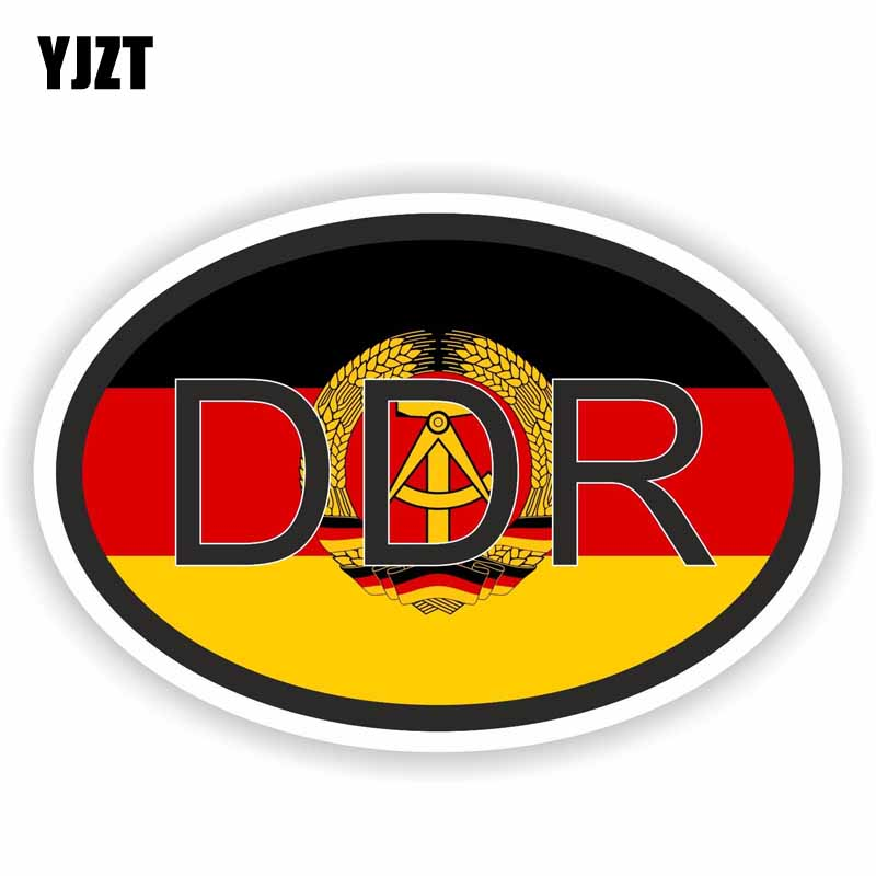 YJZT 9.8CM*6.5CM Creative DDR Germany Stickers Country Code Funny Car Motorcycle Decal PVC 6-0209