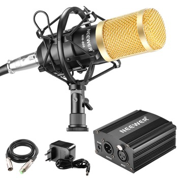 Neewer NW-800 Microphone & Phantom Power kit: NW-800 Microphone+48V Phantom Power+Power Adapter+Shock Mount+Anti-wind Foam Cap xtuga ma200 condenser instrument microphone 3 pin xlr 48v phantom power with 2 stand mount clip for saxophones piano guitar