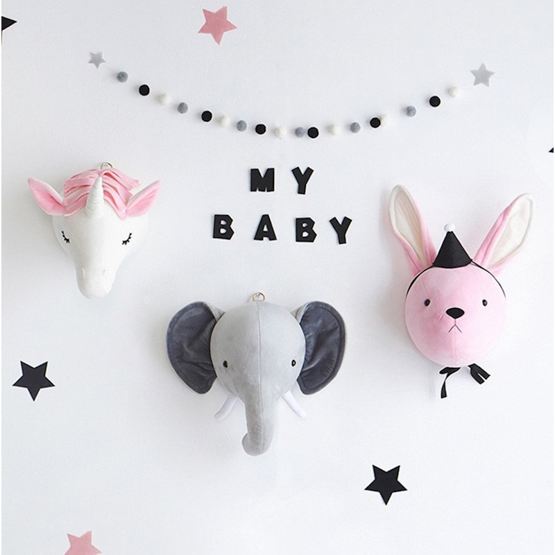 Children Roon Wall Stuffed Plush Toy Elephant Rabbit Unicorn Baby Bedroom Decoration Animal Head Wall Decorate Toy Doll For Kids