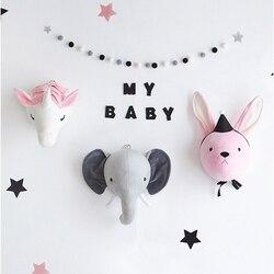 Crianças roon parede recheado brinquedo de pelúcia elefante coelho unicórnio decoração do quarto do bebê cabeça animal parede decorar brinquedo boneca para crianças