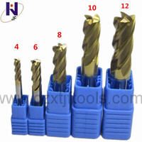 5pc Set HRC58 4 flutes 4mm 6mm 8mm 10mm 12mm Tungsten Carbide End Mill TiXCo Coating