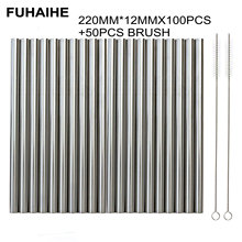 FUHAIHE 100Pcs/Lot Extra Wide Reusable 304 Stainless Steel Drinking Straw Metal For Tapioca Pearls Milk bubble Tea