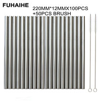 FUHAIHE 100Pcs/Lot Extra Wide Reusable 304 Stainless Steel Drinking Straw Metal Straw For Tapioca Pearls Milk bubble Tea