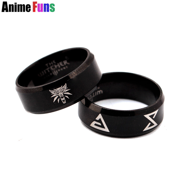 Game The Witcher 3 Wolf Logo Ring for women man Wild Hunt Finger Ring Stainless