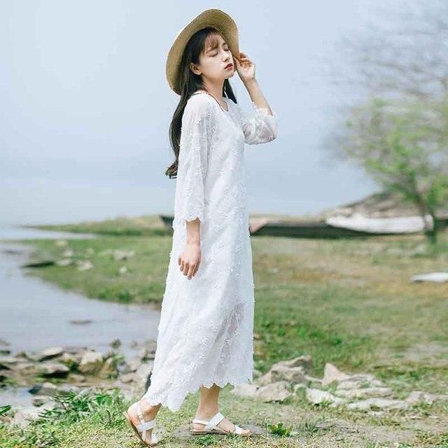 98b2c1e2d2e Mori Girls fresh Lace Embroidery White Dress Stereoscopic Floral Dress  Sweet Thin Waist Fairy Three Quarter Sleeve Long Dress