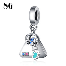 SG New 925 sterling silver Handbag Charms with Blue Enamel Pave CZ beads Fit pandora Bracelet for Women 2019 DIY Jewelry