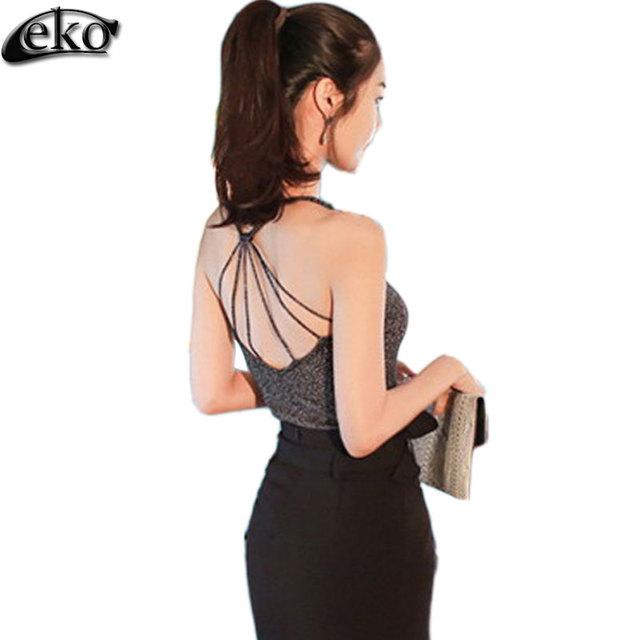 Parte Superior do tanque Das Mulheres 2016 Verão Nova Moda Das Mulheres top Sexy regatas Crochet Voltar Oca-out vest Camisole Colete preto