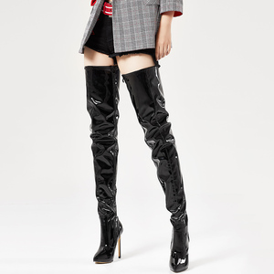 Image 3 - jialuowei Thigh High Boots Stiletto Heels Sexy Full Zipper Over the knee Long Boots Lacquered Patent Black Plus Size 36 46