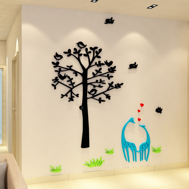 Decoratie Boom Kinderkamer.Us 47 0 Cartoon Blauw Herten Liefhebbers En Boom Sticker Acryl Muursticker Kinderkamer School Decoratie In Cartoon Blauw Herten Liefhebbers En Boom