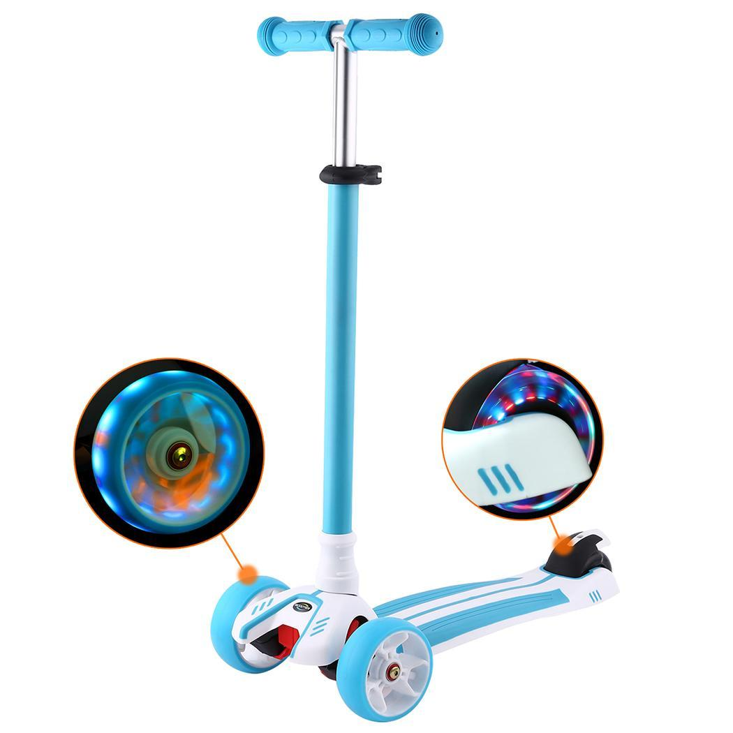 Children Kick Scooter Wheels Adjustable Pu T-style Foot Flashing Rear Brake Scooter Gift For Kids Fun Exercise Toys Scooter High Safety