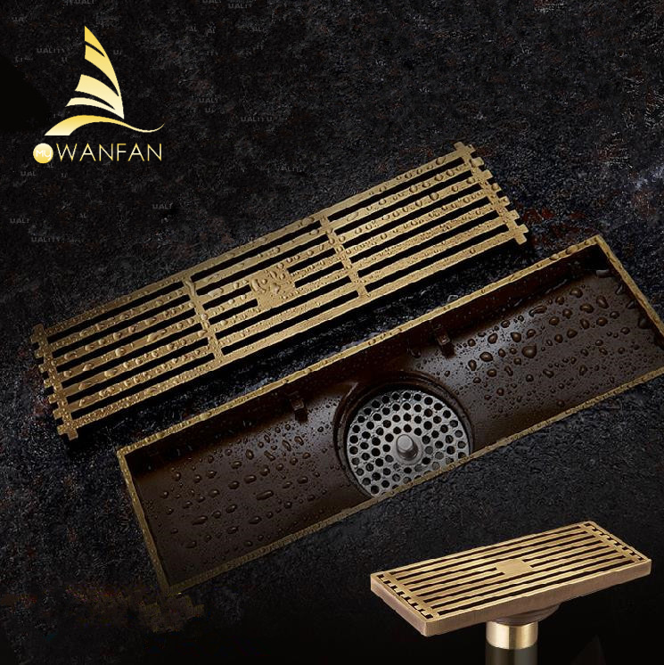 Drains Euro Style Antique Brass Bathroom Linear Shower 8*20 8*30cm Floor Drain Wire Strainer Art Carved Cover Waste Drain B8029 drains 10 10cm antique brass shower floor drain cover euro art carved bathroom deodorant drain strainer waste grate hj 8507s