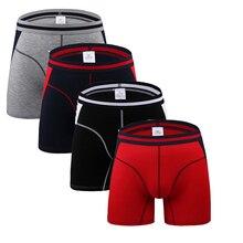 4 pçs/lote confortável longo perna curta boxers dos homens shorts masculino u convexo homem roupa interior cueca masculina m, l, xl, 2xl, 3xl