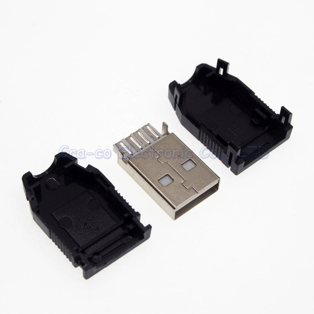 07df081fd308ef 10set 3 in 1 USB male plug with plastic case 4p type A for power charger  refit etc