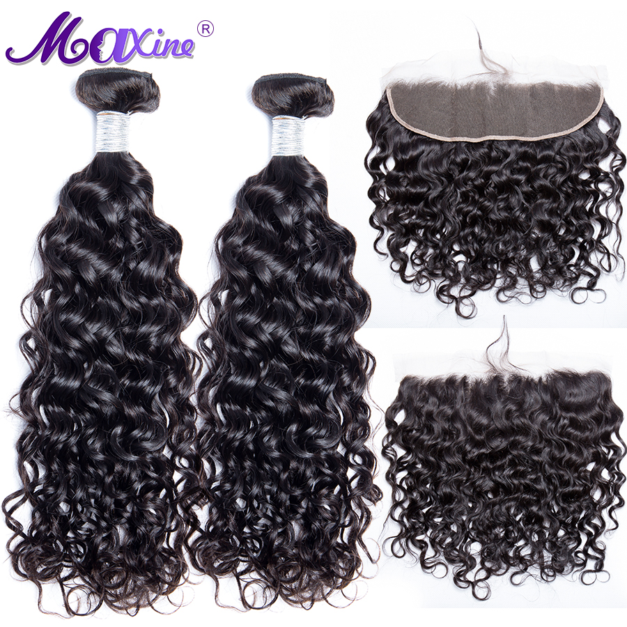 Maxine Water Wave 2 Bundles With Frontal 100 Human Hair Bundles Remy Brazilian Water Wave Bundles
