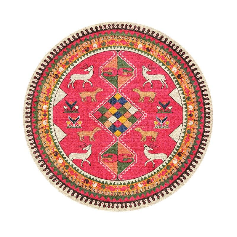 Bohême Style National rétro fleur géométrie imprimé lavable anti-dérapant tapis ronds tapis décoratifs pour tapis de salon