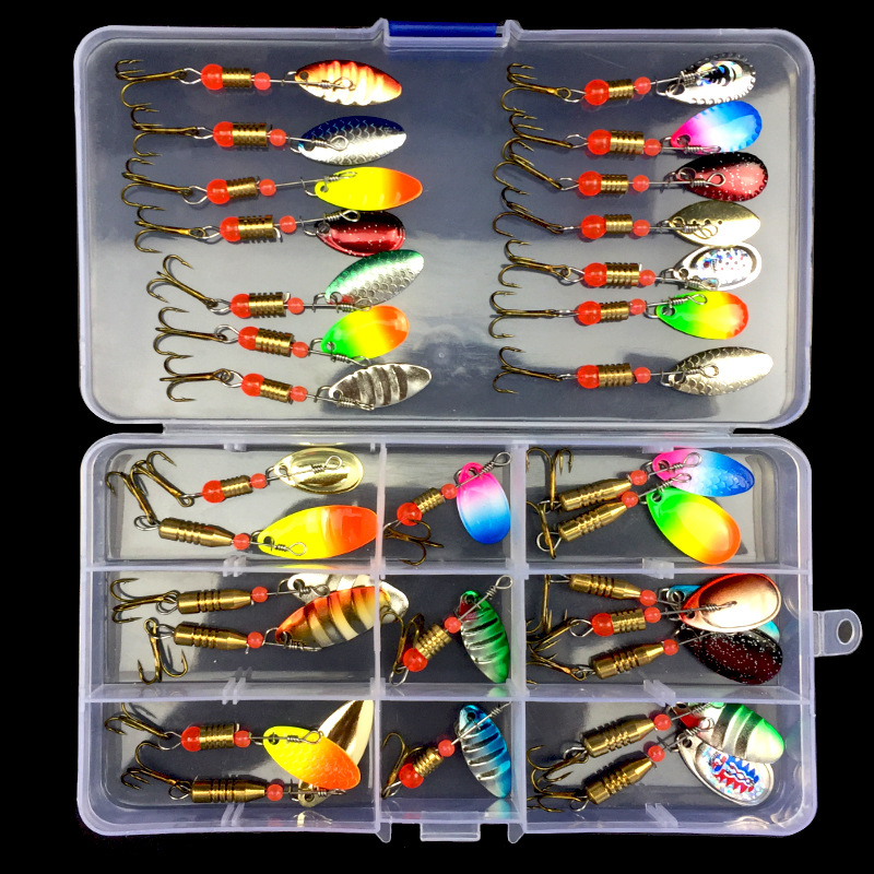 Fishing Lure Kit Spinner Bait 11-31 Pieces Rotating Sequins Spoons Compound Baits Artificial Lures