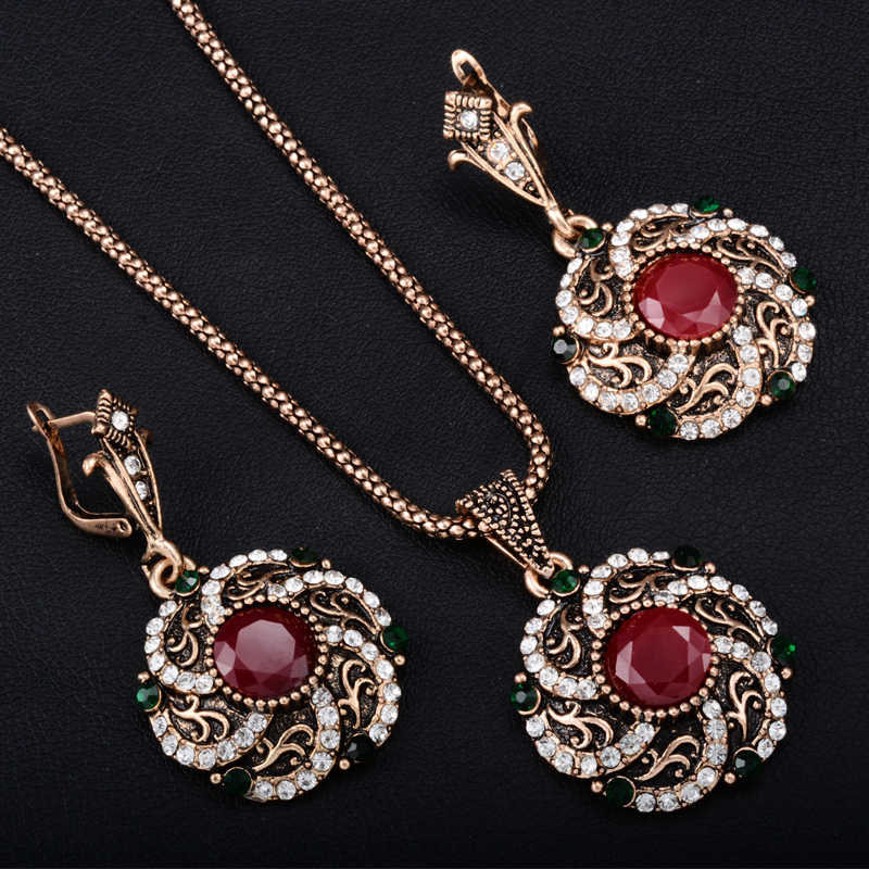 Gorgeous Turkey Bridal Jewelry Sets For Women Vintage Look Red Resin Necklace Earrings Set Gold-Color Flower Love Bijoux