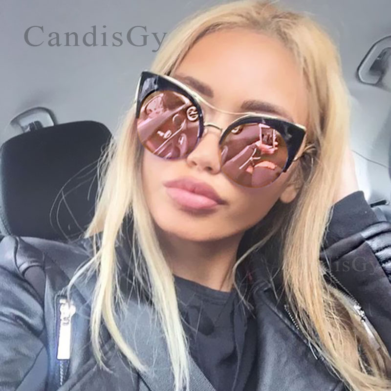 CandisGY Round Oversized Stylish Female Brand Designer Pink Mirror Cateye Solbriller Dame Party Vintage Lady Solbriller