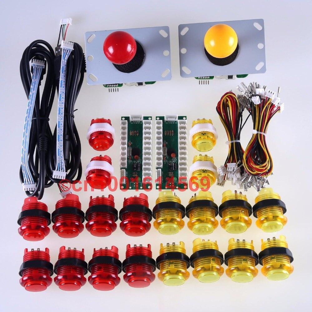 Arcade DIY Kits Parts USB Encoder + Arcade Gamepads + 20x LED Illuminated Lamps Buttons For MAME & Raspberry PI Retropie Project new mini arcade machines diy kits parts zero delay encoder circuit board
