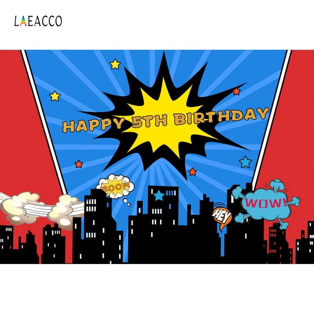 Laeacco Baby Comic Birthday Superhero Party Celebration Poster Photocall  Photography Backdrop Photo Background For Photo Studio