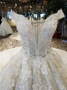 Image 5 - LS74232 weddingdress 2020 ivory and champagne off shoulder sweetheart ball gown lace up wedding dresses with long train