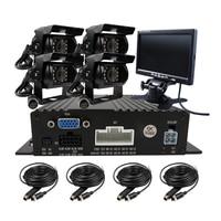 Free Shipping 4 CH 720P AHD Real Time Recording SD Vehicle Car DVR 4 Pcs Night