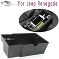 Car Center Console Armrest Storage Box For Jeep Renegade 2015 2016 ABS Black Armrest Storage Box Glove Box Tray Storage Box