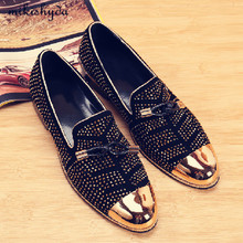 Cheap Designer Shoes Men High Quality Black Red Leather Bow-Knot Lace-Up Flats Casual Loafers Rivets Prom