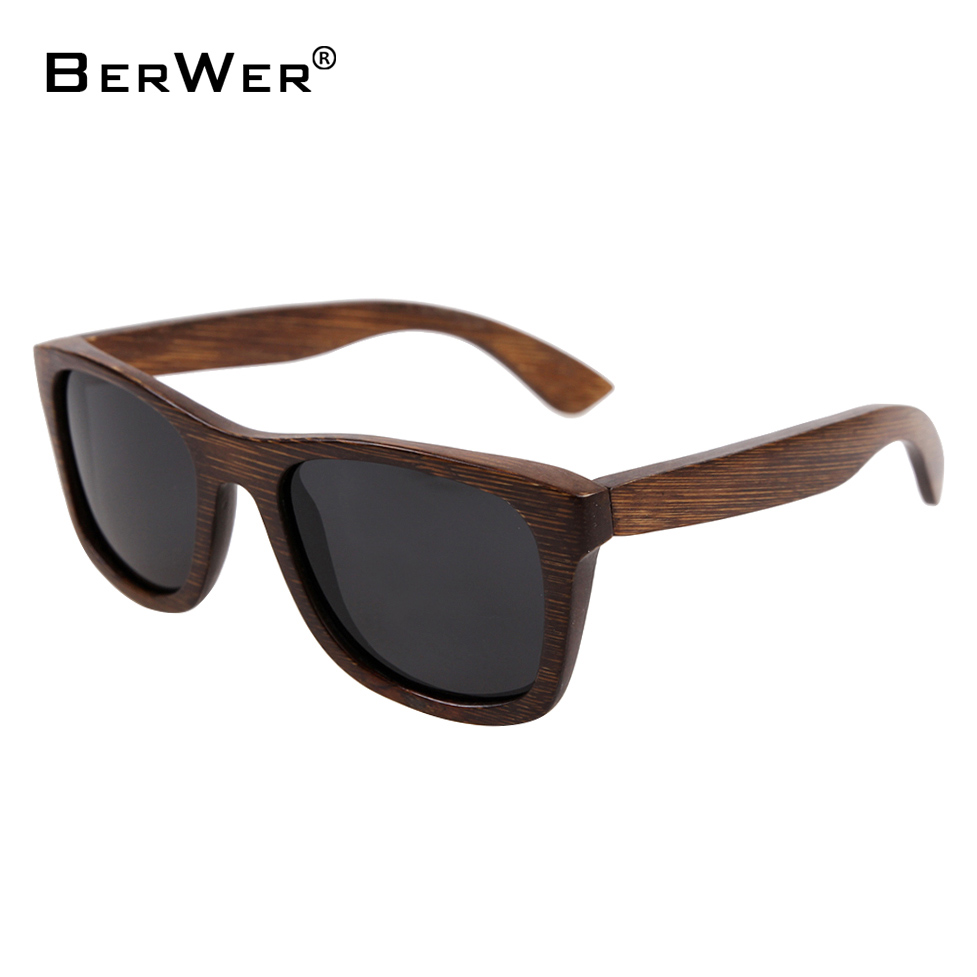 BerWer bamboo sunglasses 2018 fashion polarized sunglasses popular new design wooden sunglasses Frame Handmade