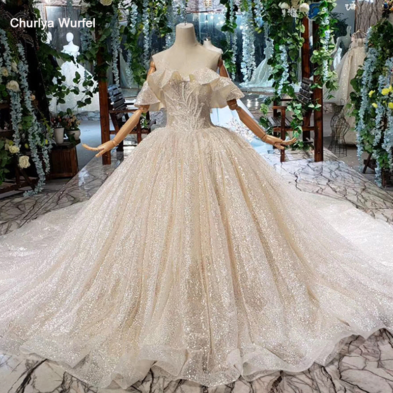 HTL458 special shiny wedding dresses with glitter off the shoulder sparkly sequins ball gown lace wedding