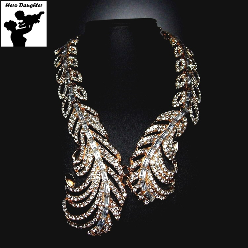 Rhinestone Long Bohemian Gold Feather Necklace Statement Designs Womens Trendy Necklace Wedding Big Collar Luxury Jewelry