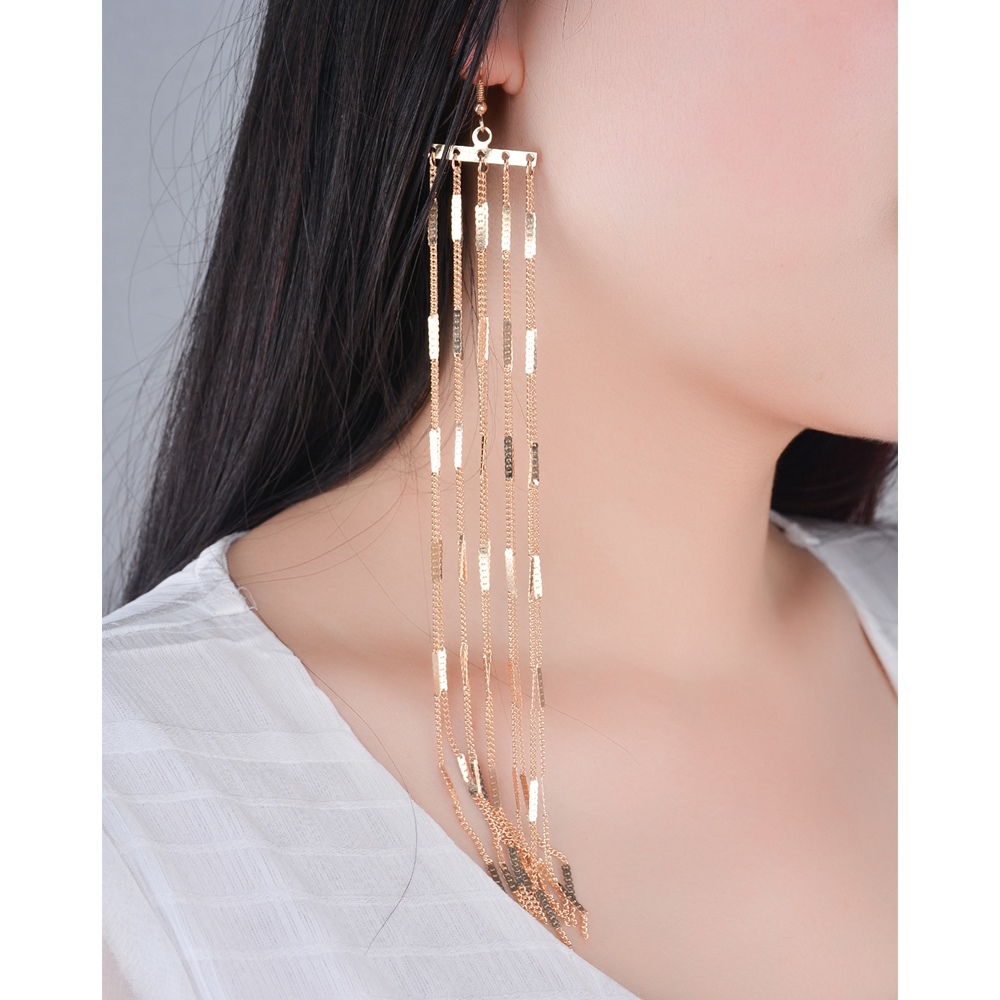 Ingesight.Z Bohemia Long Tassel Drop Dangle Earring til kvinder Store Store Metal Øreringe Vintage Øreringe Smykker Gave