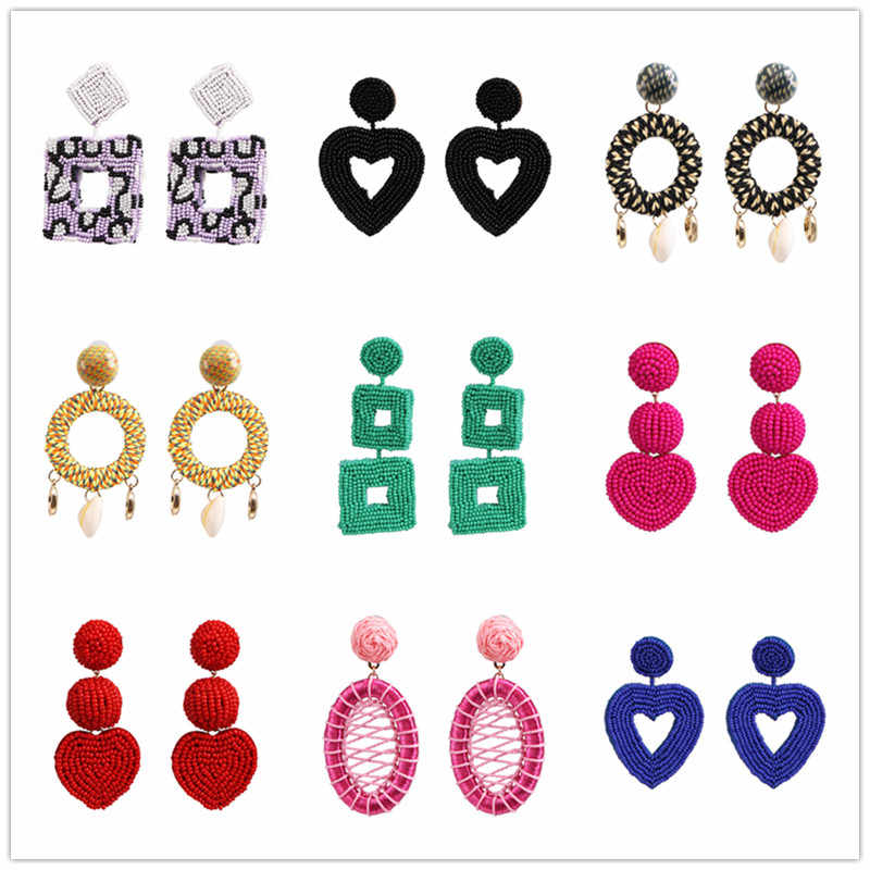 FASHIONSNOOPS Boho Multi-Color Beads Drop Earrings for Women Fashion Resin Statement Earrings Wedding Party Gifts Jewelry Bijoux