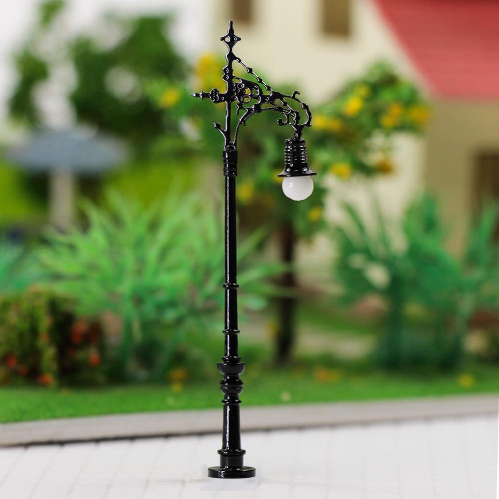 5pcs N Scale Lamp Post Single Head 65mm 1:150 Street Lights Model Railway Train LEDs Miniature Warm White LQS70N