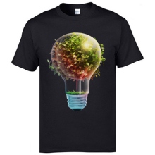 2019 Creative Tshirts Tree in The Lamp Art Print T Shirts Mens Fitness Cotton Tops Shirt Printing 3D Black Color