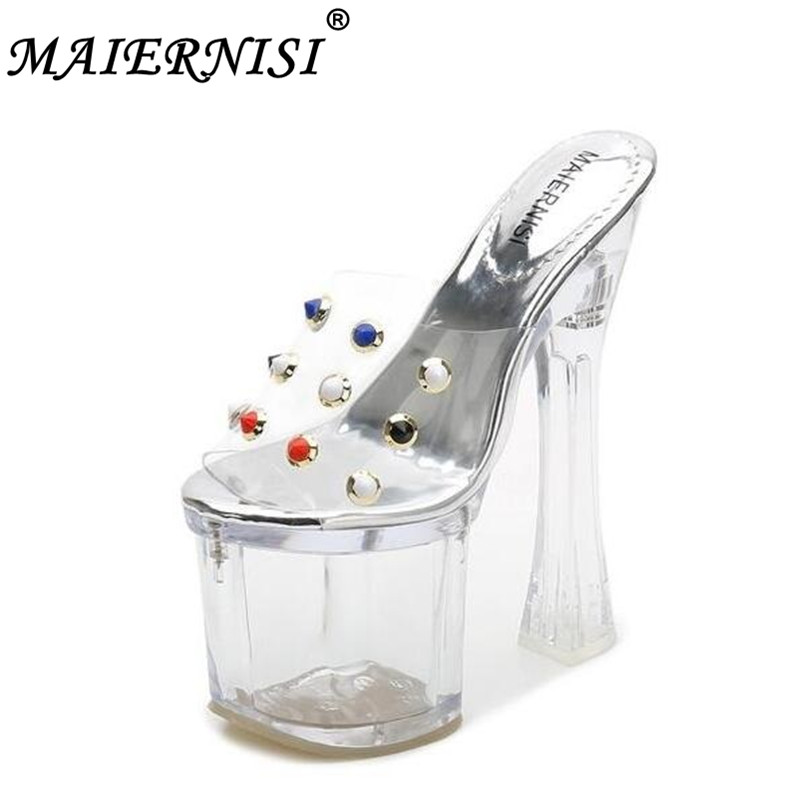 Steel Tube Dancing Shoes Women Sandals 2019 Crystal Pearl Slipper Women Shoes Ultra High Heels 18CM Transparent Platform Slipper 15cm club shoes big star with steel tube dancing shoes 34 and 46 yards high with the lacquer that bake single crystal shoes