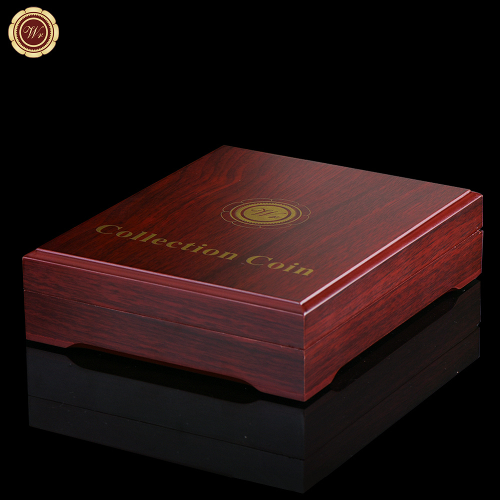 WR Luxury Home Decor High Quality 5 Coin Wooden Box Creative Red Collectible Box for 5 Commemorative Coin Collection