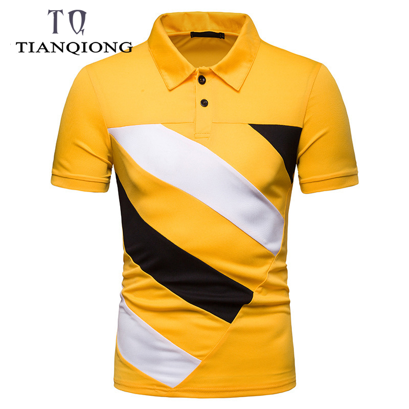 2019 Top Tees New Summer Men's Short Sleeve   Polo   Shirt Men Contrast Color Stripes Slim Lapel Casual Mens   Polo   Shirt