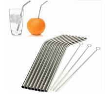High Quality Eco Friendly 8Pcs Stainless Steel Metal Drinking Straw Reusable Straws + 3 Cleaner Brush Set