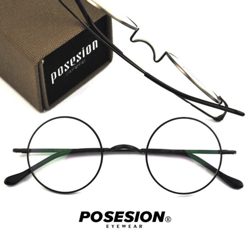 POSESION Spectacle Frame Men Women Vintage Round Titanium Computer Optical Glasses Eyeglasses Frames Clear Lens Eyewear