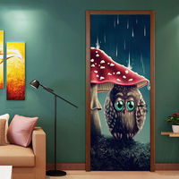 New Creative Cute Owl Starry Sky Owl Door Stickers PVC Poster Wallpapers Decal Kids Child Bedroom Living Room Home Decor